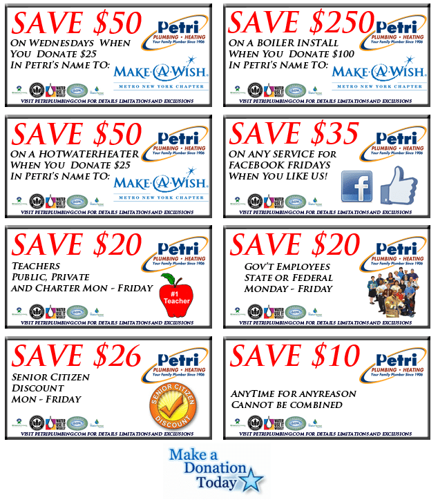 Petri Plumbing & Heating, Inc. in Williamsburg Plumber Coupons and Savings